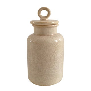 Jeco Cream Ceramic Small Distressed Lidded Jar