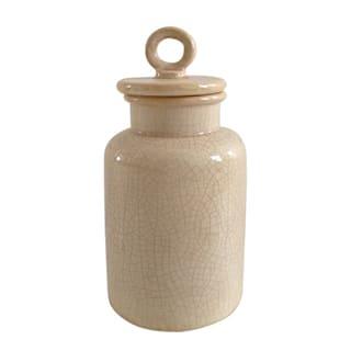 Jeco Cream Ceramic Small Distressed Lidded Jar|https://ak1.ostkcdn.com/images/products/13001849/P19746400.jpg?impolicy=medium