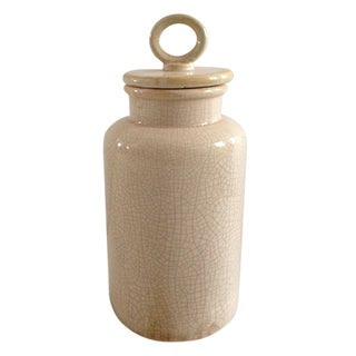 Jeco Distressed-finish Cream Ceramic Large Lidded Jar