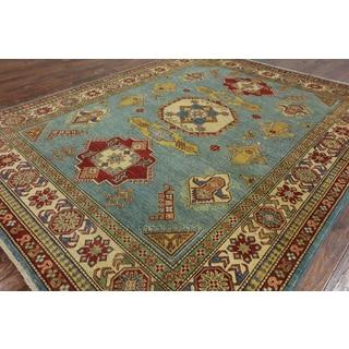 Hand-Knotted Super Kazak Oriental Light Blue Wool Rug (8' x 9'10)