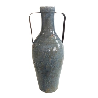 Blue Ceramic Large Vase with Metal Handle