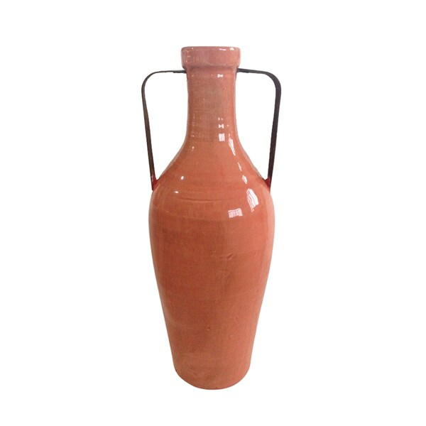 Orange Ceramic Large Vase With Metal Handles Free Shipping Today