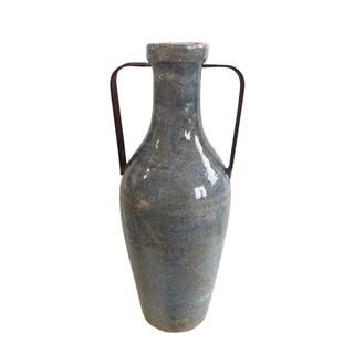 Medium Blue Ceramic Vase with Metal Handle