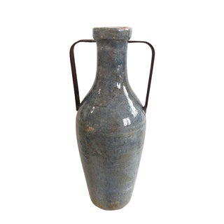 Medium Blue Ceramic Vase with Metal Handle