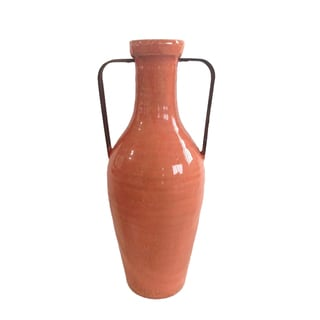 Jeco Orange Ceramic Medium Vase with Metal Handle