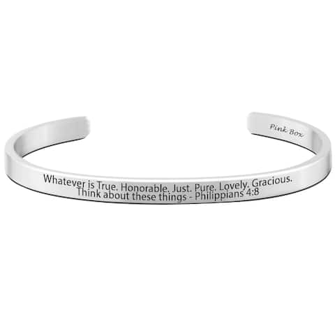 Pink Box Philippians 4:8 Stainless Steel 8-millimeter Holy Scripture Cuff Bracelet