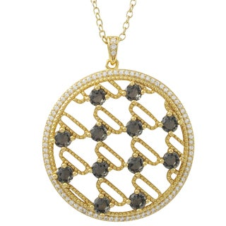Luxiro Gold Finish Sterling Silver Sliced Glass and Cubic Zirconia 35-mm Circle Pendant Necklace