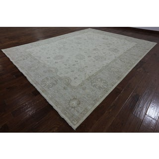 Hand-Knotted Chobi Peshawar Ivory Wool Rug (9' 9 X 12' 8)