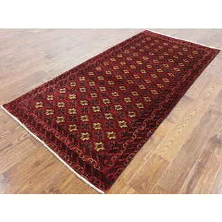 Persian Balouch Oriental Red Wool Hand-knotted Rug (3'10 x 8')