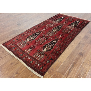 Hand-knotted Oriental Persian Balouch Red Wool on Wool Rug (4' x 8')