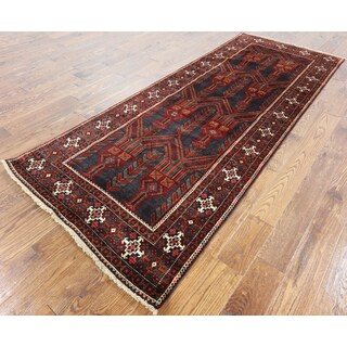 Oriental Persian Blue Wool On Wool Hand-knotted Rug (3' 7 x 9' 3)