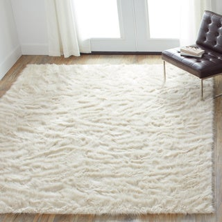 Jungle Faux Sheep Skin Bone Shag Rug (5' x 7'6)