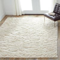 Clay Alder Home Newport Faux Sheepskin Bone Ivory Shag Area Rug - 7'6 x 9'6