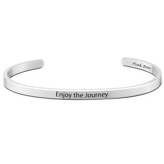 Pink Box Stainless Steel 'Enjoy the journey' Cuff Bracelet