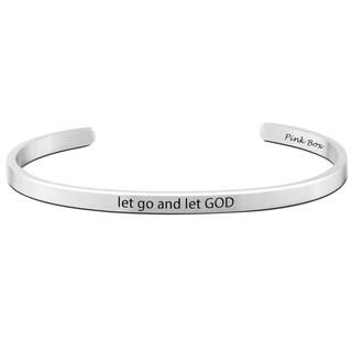 Pink Box Stainless Steel 'Let go let GOD' Cuff Bracelet