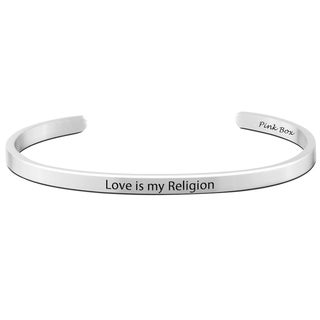 Pink Box Stainless Steel 5-millimeter 'Love is my Religion' Cuff Bracelet