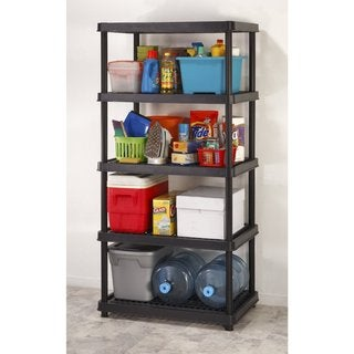 Keter 5-tier 36 in. W x 24 in. D x 72 in. H Black Utility Freestanding Ventilated Shelve Unit Storage Rack