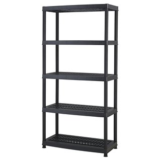 Keter 5-tier 36 in. W x 18 in. D x 72 in. H Black Utility Plastic Freestanding Ventilated Shelve Unit