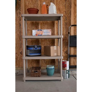 Keter 4-tier 34 in. W x 16 in. D x 54.5 in. H Sand Freestanding Shelve Unit Storage Rack