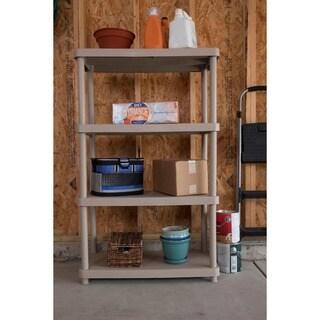 Keter 4-tier 34 in. W x 16 in. D x 54.5 in. H Sand Freestanding Shelve Unit Storage Rack
