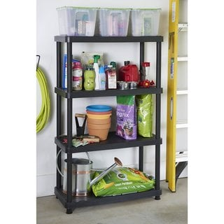 Keter 4-tier 34 in. W x 16 in. D x 54.5 in. H Black Freestanding Shelve Unit Storage Rack