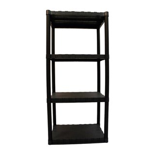 Keter 4-tier 23 in. W x 15 in. D x 49 in. H Black Freestanding Plastic Shelve Unit Storage Rack