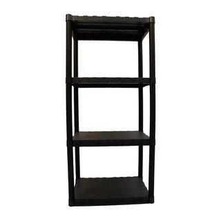 Keter 4-tier 23 in. W x 15 in. D x 49 in. H Black Freestanding Plastic Shelve Unit Storage Rack