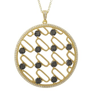 Luxiro Gold Finish Sterling Silver Sliced Glass and Cubic Zirconia 50-mm Circle Pendant Necklace