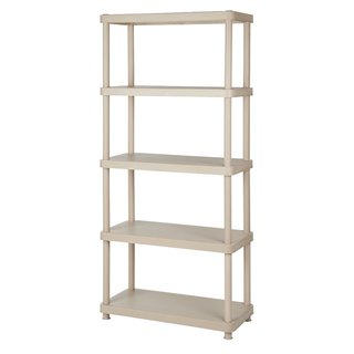 Keter 5-tier 34 in. W x 16 in. D x 72 in. H Sand Freestanding Plastic Shelve Unit Storage Rack