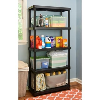 Keter 5-tier 34 in. W x 16 in. D x 72 in. H Black Freestanding Plastic Shelve Unit Storage Rack