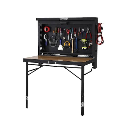 Wood and Steel Wall-mounted Work Table