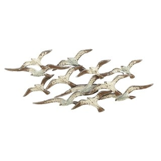 Urban Designs Flying Flocking Seagulls Heavily Distressed White 53-inch Wide Metal Wall Art