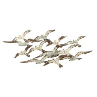 handcrafted flock of metal flying birds wall art free. Black Bedroom Furniture Sets. Home Design Ideas