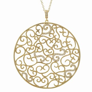 Luxiro Gold Finish Sterling Silver Cubic Zirconia Filigree Circle Pendant Necklace