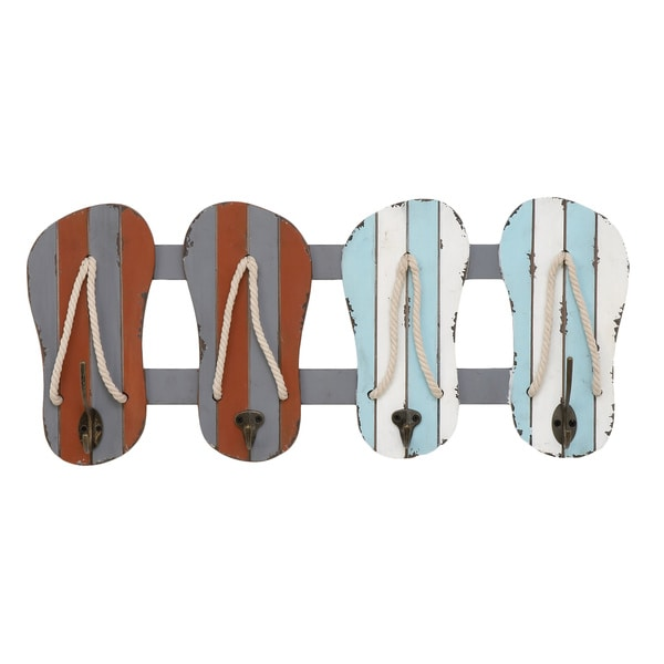 Urban Designs Vintage Flip-flops Multicolor Wood and Metal 24-inch 4-hook Wall Rack