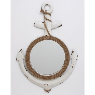 Urban Designs Nautical Anchor 35-inch Metal Wall Art with Rope-framed Mirror