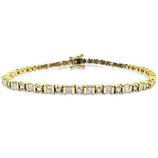 Noori 14k Yellow Gold 2ct TDW Round/ Baguette-cut Diamond Tennis Bracelet (H-I, SI2-I1)