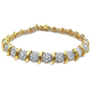 Noori 14k Yellow Gold 2 4/5ct TDW Round-cut Diamond Link Style Bracelet