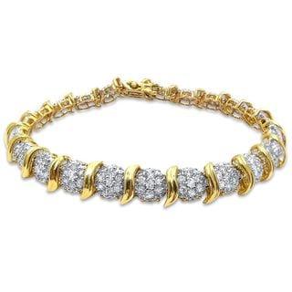 Noori 14k Yellow Gold 2 4/5ct TDW Round-cut Diamond Link Style Bracelet