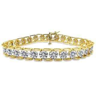 Noori 14k Yellow Gold 1ct TDW Round-cut Diamond Tennis Bracelet (I-J, I1-I2)