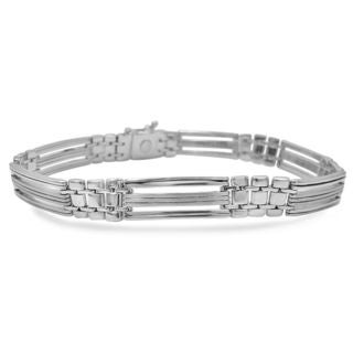 Noori 14k White Gold 28-gram Men's Fancy Link Bracelet