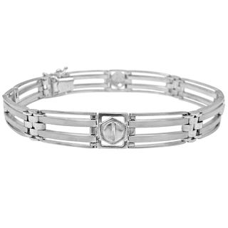 Noori 14k White Gold Men's 22.5-gram Fancy Link Bracelet