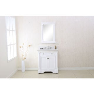 "LEGION FURNITURE 30"" MATT WHITE SINGLE SINK VANITY WITH QUARTZ TOP AND MATCHING MIRROR INCLUDED"