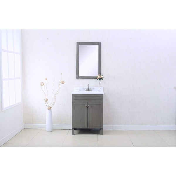 LEGION FURNITURE 24-inch SILVER GREY SINGLE SINK VANITY WITH MATCHING MIRROR