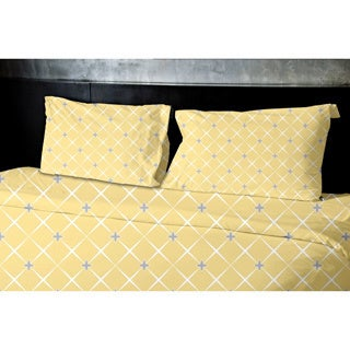 Light Blue Geometric Print Twin Duvet Cover in Yellow(As Is Item)