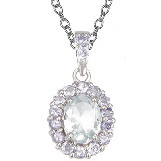 Sterling Silver Aquamarine and Tanzanite 18-inch Halo Pendant Necklace