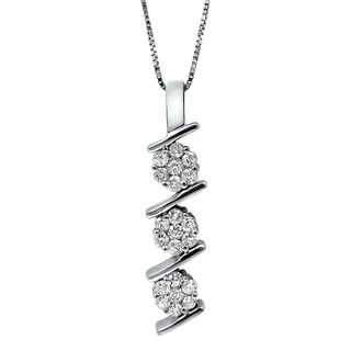 Noori 14k White Gold 1/2ct TDW Flower Diamond Pendant Necklace (G-H, SI2-I1)