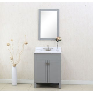 "LEGION FURNITURE 24"" GREY SINGLE SINK VANITY WITH MATCHING MIRROR"