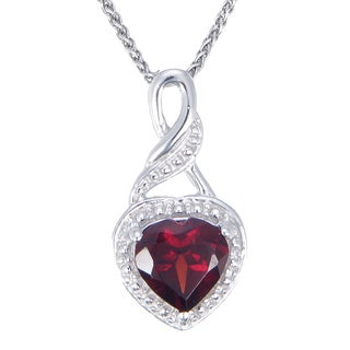 Sterling-silver 0.6-carat Garnet Heart Pendant With Chain