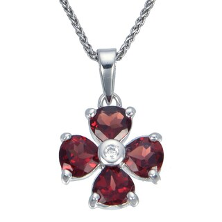 Sterling Silver Garnet Flower Pendant 1 2/5ct With Chain